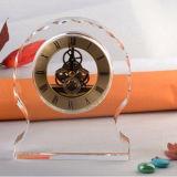 Round Clear Crystal Desk Clock Decoration
