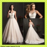 Champagne Tulle Ball Gowns Princess Sheer Neckline Lace Wedding Dresses Y1008