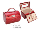Handmade Classic Red Leather Jewelry Storage Box Jewelry Box