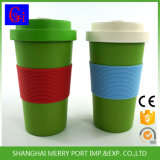 14oz Bamboo Fiber Coffee Mug and Cup with Silicone Holder, Green Water Bottle