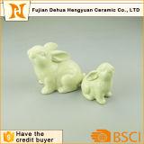 Handmade Green Easter Bunny Ceramic Easter Rabbit