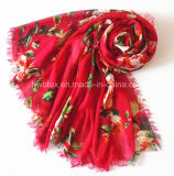 Fashion Red Flourish Printing Lady Scarf in 100% Viscose (HWBVS053)
