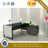 New Design Black Glass Top Steel Frame Office Table (NS-GD003)