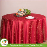 Cheap Polyester Flower Round Banquet Wedding Red Tablecloth