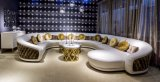 Luxury Italian Style Leather and Fabric Mixed Corner Sofa