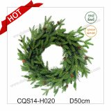 Dia. 45cm Hot Sale Green Christmas Wreath Plastic Holiday Decoration