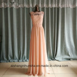 Chiffon Lace Long Bridesmaid Dresses Scoop Open Back Prom Gowns