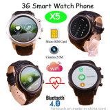 3G Full Round Screen 3G Smart Watch Phone Support WCDMA WiFi Wireless Internet (X5)