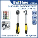 Drive Pear Head Quick Release Ratchet with Rubber Covered Handle