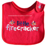 Promotional Cotton Red Words Embroidery Custom Baby Wear Baby Bibs Baby Apron