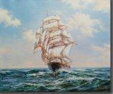 Oil Painting of Sailing on Sea