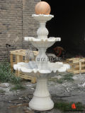 White Marble Floating Ball Water Fountains for Garden Decoration