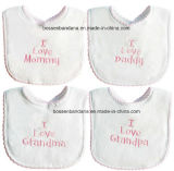 Cheap Good Quality Customized Logo Embrodiered White Cotton Baby Bibs