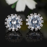 Fashion Crystal CZ Flower Rhodium-Plated Women Imitation Jewelry Earrings