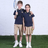 Custom Fashion Summer Primary School Uniform High Quality blue Polo Shirt and Khaki Shorts and Skirt