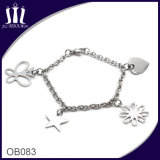 DIY Silver Charm Stainless Steel Bracelet