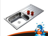Sandblast Chrome Plated Kitchen Sink One Stretched One Piece Forming Stainless Steel Sink (YQ9045)