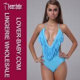Woman Sexy Bikini Swimwear One Piece in Blue (L3203-3)