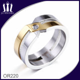 X Cross Gold and Silver Ring with CZ