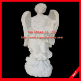 Garden Decoration Stone Carving Marble Woman Angel Sculpture
