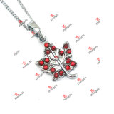 Fashion Red Birthstone Maple Leaf Charms Jewelry Necklace Gifts (KDJ60128)