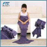 Kids Knitting Mermaid Tail Blanket Crochet Blanket Sofa