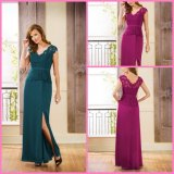 V-Neck Mother Party Prom Formal Gowns Split Chiffon Evening Dress E16120