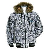 Men′s Winter Printed Jacket with Fur Hoody
