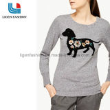 Fashionable Ladies Embroidery Pattern Knitted Pullover