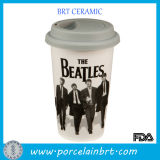 12 Oz Custom Ceramic Double Wall Cup with Silicone Lid