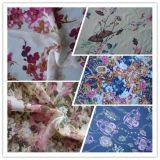 Polyester Crepe Georgette chiffon Spandex Satin Fabric with Printed for Dress Fabric