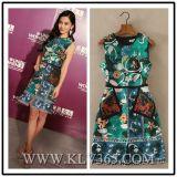2016 Newest Fashion Women Sleeveless Flower Printed Summer Dress
