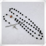 Section Black Glass Bead Chain Rosary, 6mm Bead Hand Make Rosary, Christian Rosary (IO-cr188)