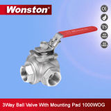 3 Way Stainless Steel Ball Valve with ISO 5211 Mounting Pad 1000wog