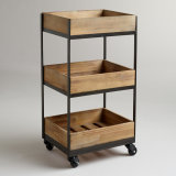 Three Shelf Wooden Gavin Rolling Cart