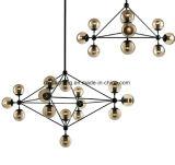 Amber Glass Ball Black Metal LED Modern Chandelier