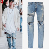 Factory Fashion Best Sale Light Blue Slim Tear Washed Denim Trousers Jeans