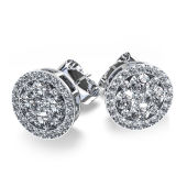 Round Fashion 925 Silver Stud Earrings with AAA CZ