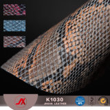 Snakeskin Pattern Artifical Leather PVC Synthetic Leather Embossing PU Faux Leather for Bags