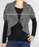 Ladies Knitted Long Sleeve Cardigan Sweater for Casual (12AW-214)