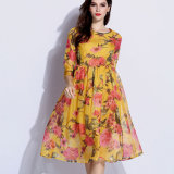 Luxury Dress Folk Style Three Quarter Sleeve and Flowers Printing Stamp Design for Summer Season