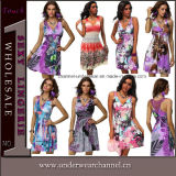 Wholesale Sexy Women Deep V-Neck Floral Printed Cocktail Dresses (TXY4190)