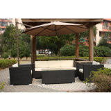 Metal 4 PCS HD Design Outdoor Black Wicker Furniture