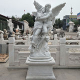 White Marble Carving Large Angel Sculpture for Outdoor Garden