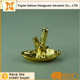 Ceramic Cactus Ring Holder, Gold Porcelain Ring Dish