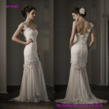 Modern One Shoulder Tulle-Draped Fitted Wedding Gown with Beaded Lace Flower Detail