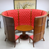 (SP-KS268) High End Chinese Style Round Wooden Restaurant Booth Set