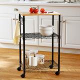 Adjustable Metal Shelves Storage Kitchen Serving Carts Trolley on Wheels