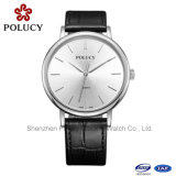 Solid Stainless Steel Genuine Leather Strap Sapphire Watch Swiss Quartz Watches