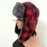 Hot Sales Russian Trapper Winter Hat with Check Printing Fabric